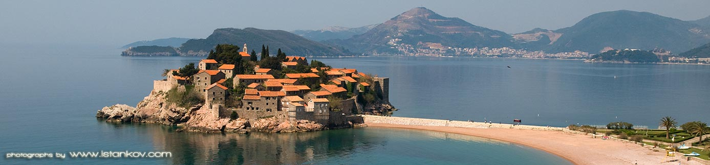 Panorama of Sveti Stefan and Budva Riviera